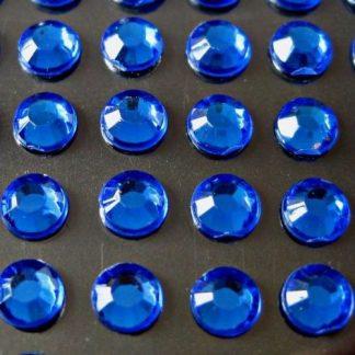 100 St. Selbstklebende Schmucksteine - Runde 5 mm (blau) id454 new