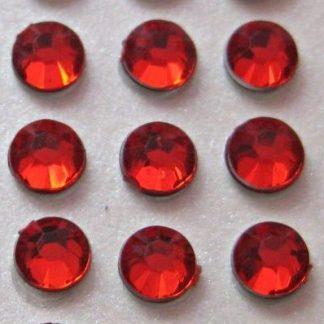 100 St. Selbstklebende Schmucksteine - Runde 5 mm (rot) id457 new