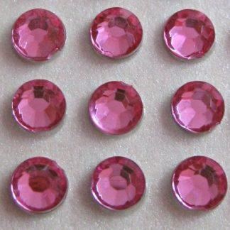 100 St. Selbstklebende Schmucksteine - Runde 5 mm (rosa) id459 new
