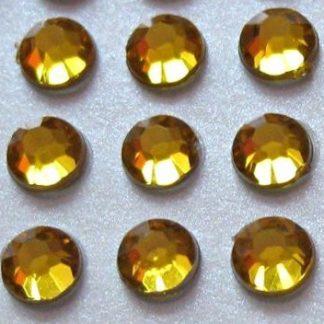 100 St. Selbstklebende Schmucksteine - Runde 5 mm (gold) id460 new
