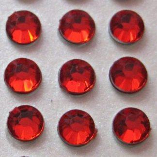 176 St. Selbstklebende Schmucksteine - Runde 3 mm (rot) id35 new