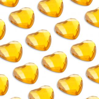 100 St. Selbstklebende Schmucksteine - Herz 6 mm (gold) id53 new